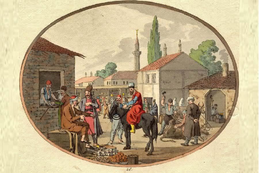 крымский базар. старинная гравюра крыма