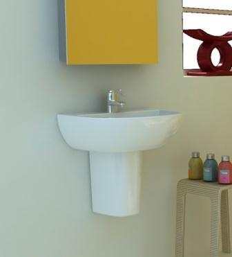 Хорошо сэкономить пространство в ванной комнате может подвесная раковина